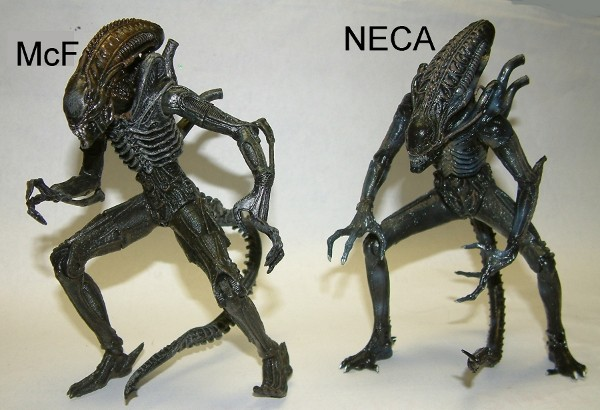 NECA Alien vs McFarlane Alien action figure comparison