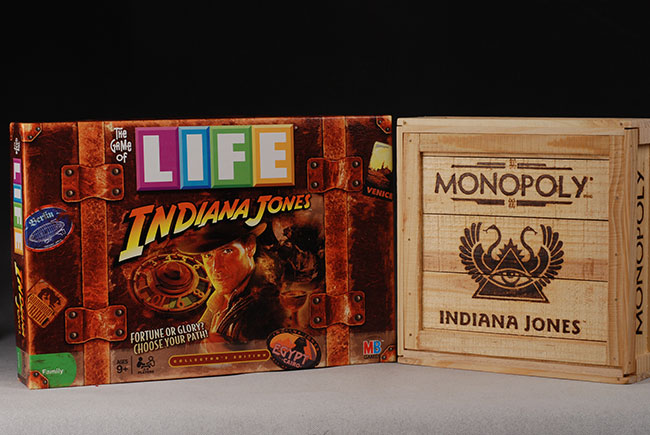 Indiana Jones Monopoly and Game of Life board games