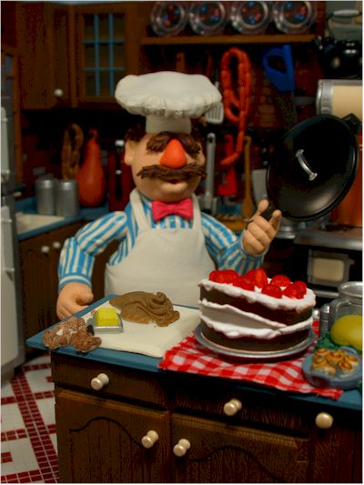 Muppets Swedish Chef action figure, Kitchen play set by Palisades