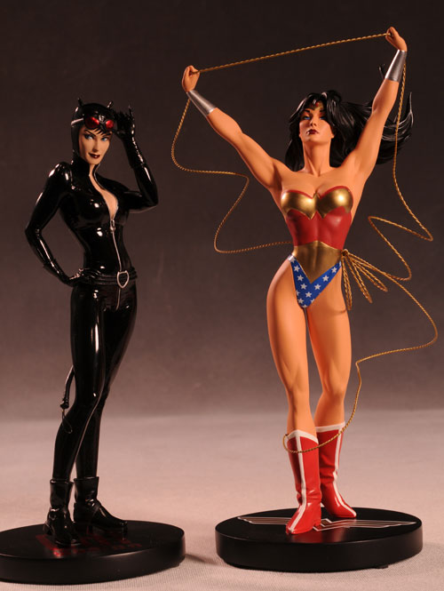 Cover Girls of the DCU Catwoman, Wonder Woman statues by DC Direct