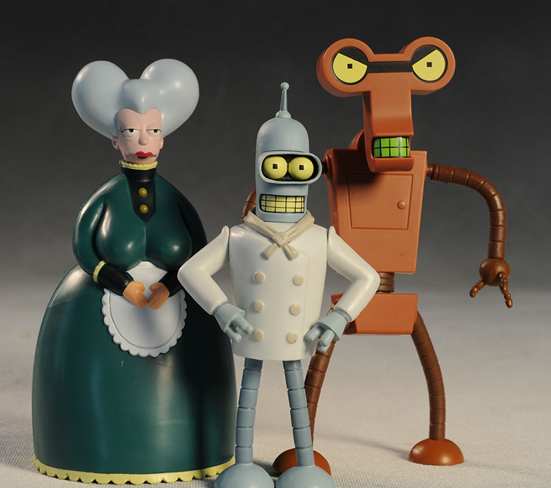 Futurama Chef Bender, Mom, Roberto action figure by Toynami