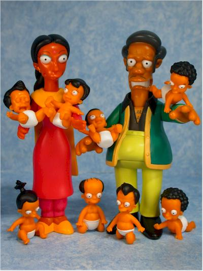 Simpsons Apu, Manjula, Octuplets action figures