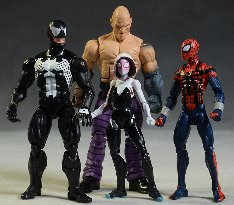 Ben Reilly Spider-Man, Spider-Gwen, Absorbing Man, Venom Marvel Legends action figures by Hasbro