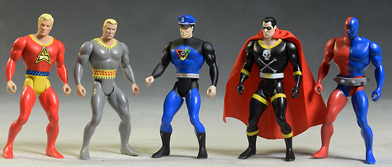 Amazing Heroes Black Terror, Captain Action, Stardust, Daredevil, Silver Streak action figures by Fresh Monkey Fiction