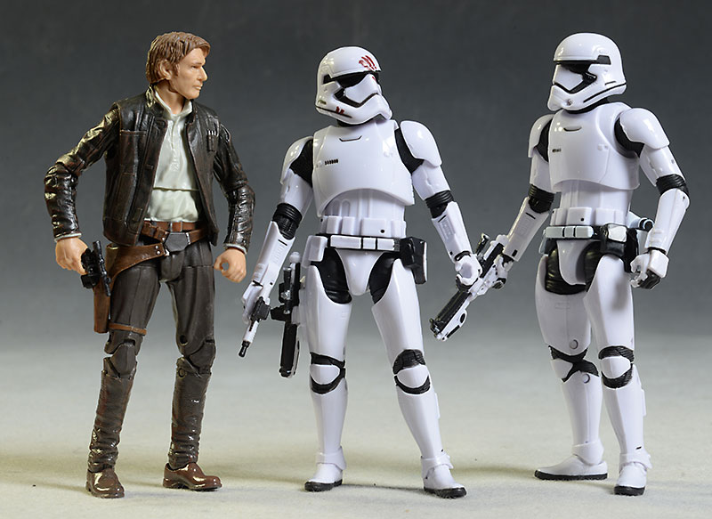 Star Wars Black Trooper Finn, Old Han Solo action figures by Hasbro